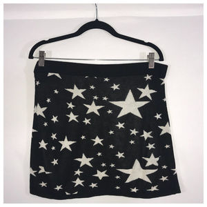 Divided Black and White Star Mini Skirt Large